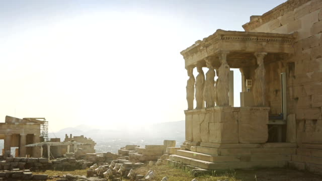 the parthenon of athens: caryatid in acropolis - athens greece stock videos & royalty-free footage