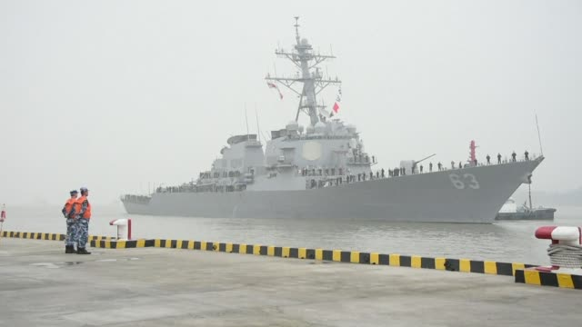 the passage of a us warship close to a disputed island in the south china sea is a serious political and military provocation beijing says one that... - sea passage stock videos and b-roll footage