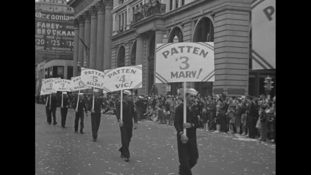 the patten men wearing us navy sailorsuit uniforms marching in portland parade holding signs #1 patten pop #2 gil #3 marv #4 vic #5 allen #6 #7 ray... - sailor suit stock videos and b-roll footage