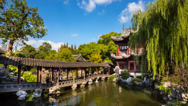 tl the pavilion of listening to billows in yu garden - pavilion video stock e b–roll