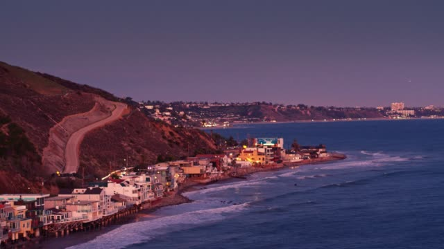 the pch in malibu at sunset - aerial view - malibu stock videos & royalty-free footage
