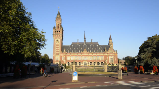the peace palace in the hague, the netherlands, houses the international court of justice - the hague stock videos and b-roll footage