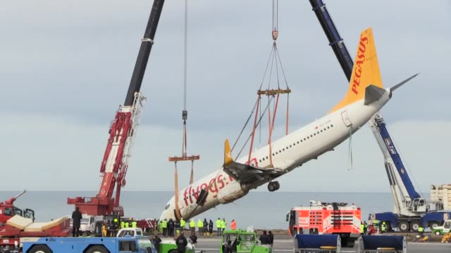 the pegasus airlines boeing 737800 that skidded off a runway after landing in trabzon northern turkey is due to be towed away on january 18 2018 the... - pegasus stock videos & royalty-free footage
