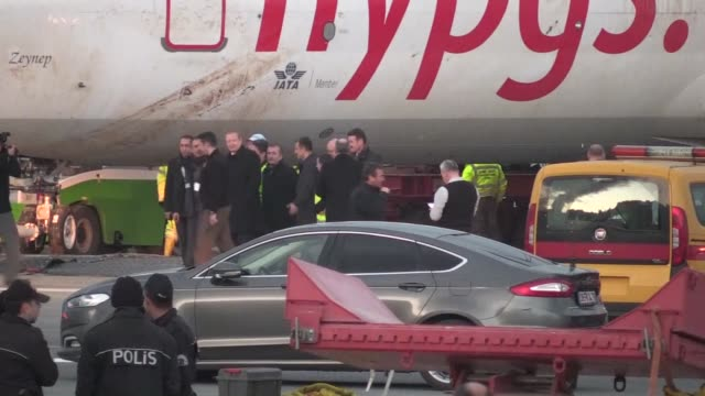 the pegasus airlines boeing 737800 that skidded off a runway after landing in trabzon northern turkey is due to be towed away on january 18 2018... - pegasus stock videos & royalty-free footage