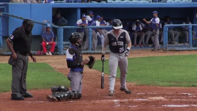 the penn state baseball faces cubas industriales becoming the first us team to play against teams from the cuban national series since the renewal of... - united states national team stock videos & royalty-free footage