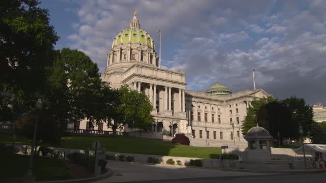 The Pennsylvania capital building in Harrisburg PA early evening