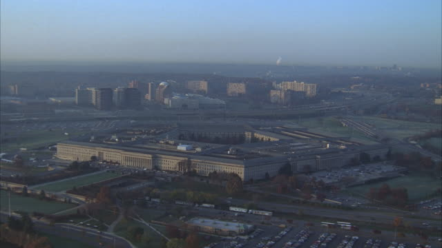 aerial, the pentagon, arlington, virginia, usa - arlington virginia video stock e b–roll