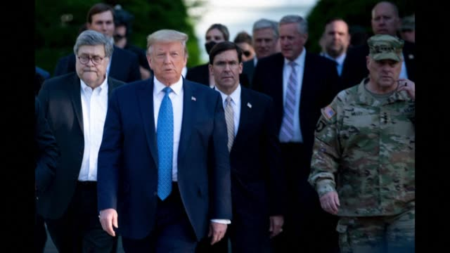 the pentagon's top officer, general mark milley, says he was wrong to appear with president donald trump in a photo op near the white house, staged... - file stock videos & royalty-free footage