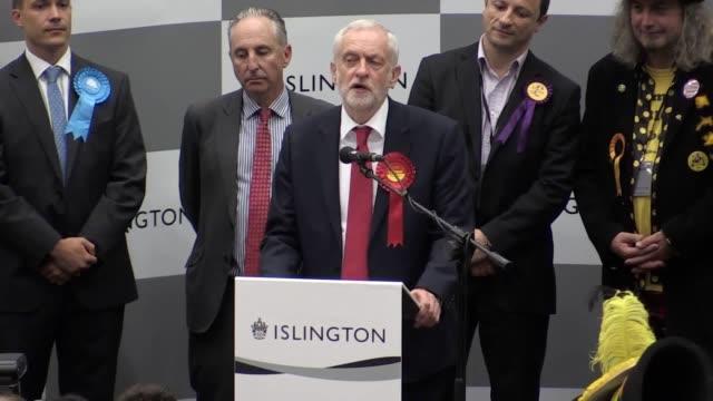 """the people of britain have voted for """"hope"""" and rejected austerity, jeremy corbyn said as he called for theresa may to quit as prime minister. in his... - islington stock videos & royalty-free footage"""