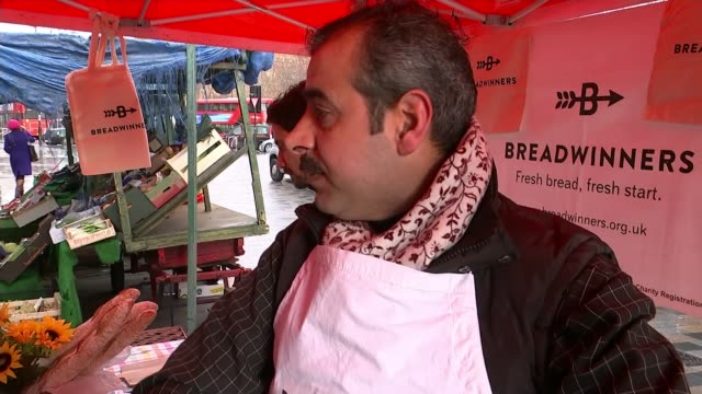 The People's Projects 2018 The Breadwinners project ENGLAND London SOT*** **Cornwell interview partly overlaid SOT** Man looking at Breadwinners...