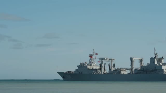 stockvideo's en b-roll-footage met the people's republic of china, people's liberation army replenishment ship qiandaohu departs for the at-sea phase of rim of the pacific exercise... - oorlogsschip
