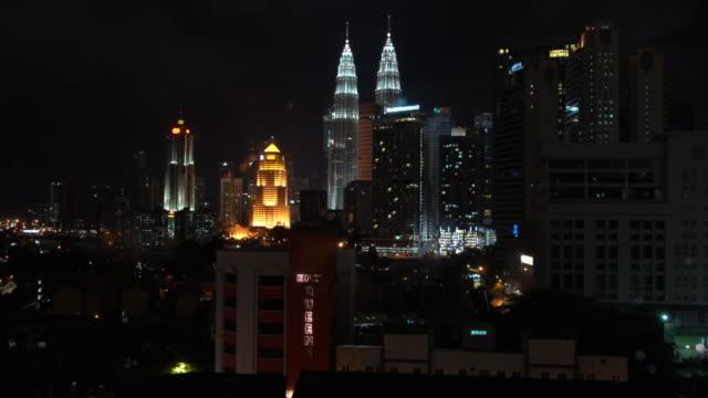 The Petronas Towers In Kuala Lumpur By Night, Malaysia