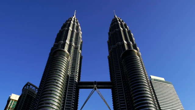 The Petronas twin towers at day clear blue sky in Kuala Lumpur City Center, KLCC, Malaysia.