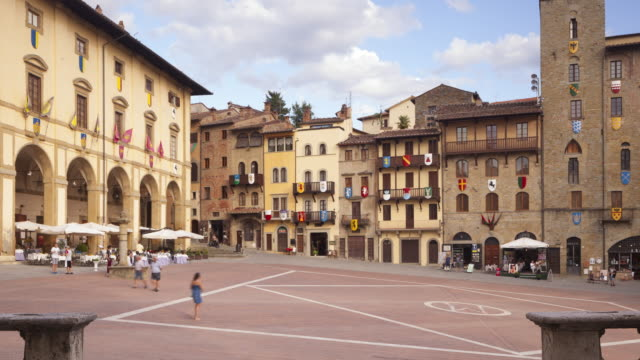 zo of the piazza grande in arezzo, italy. - circa 13th century stock videos & royalty-free footage