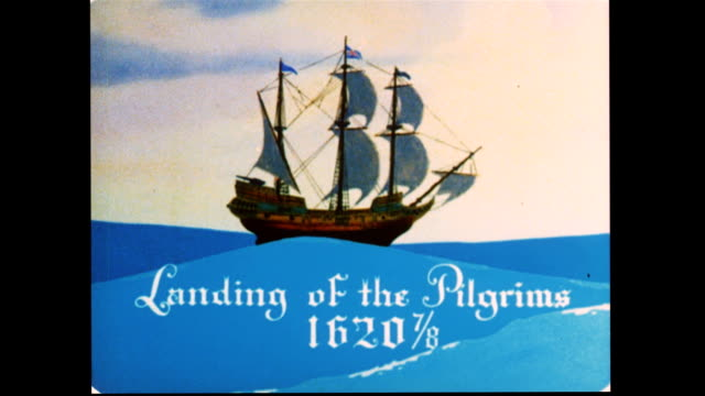 the pilgrims arrive in america - xvii° secolo video stock e b–roll