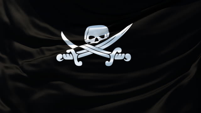 the pirate flag fluttering in the wind - skull stock videos & royalty-free footage