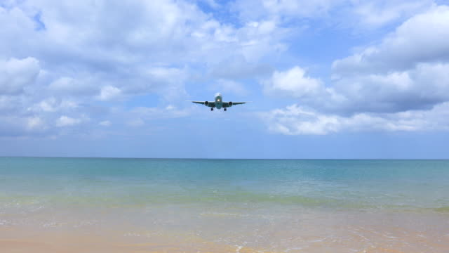 the plane is landing at phuket airport over mai khao beach in thailand. - week stock videos & royalty-free footage