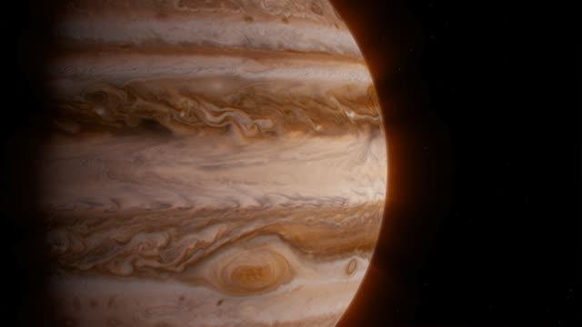 vídeos de stock e filmes b-roll de cgi cu zi of the planet jupiter - júpiter