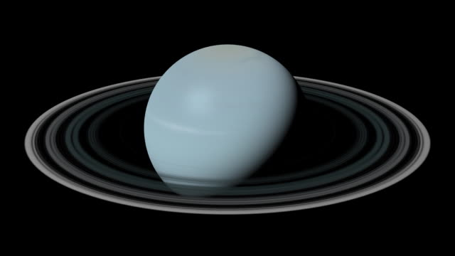 The planet Uranus rotates in black space.