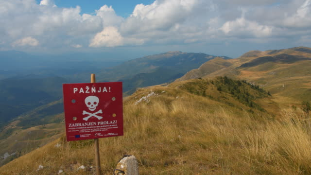 """ws the plate in bosnian language """"danger - mine"""" - bosnia and hercegovina stock videos & royalty-free footage"""