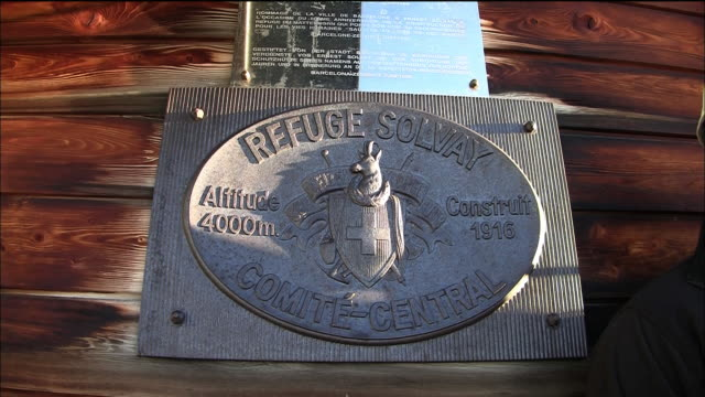 the plate of solvay shelter in switzerland - western script stock videos & royalty-free footage
