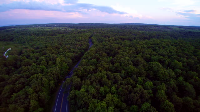 the police stopped the violator on the long pond road, pennsylvania, poconos, usa. aerial drone video. - panoramica video stock e b–roll