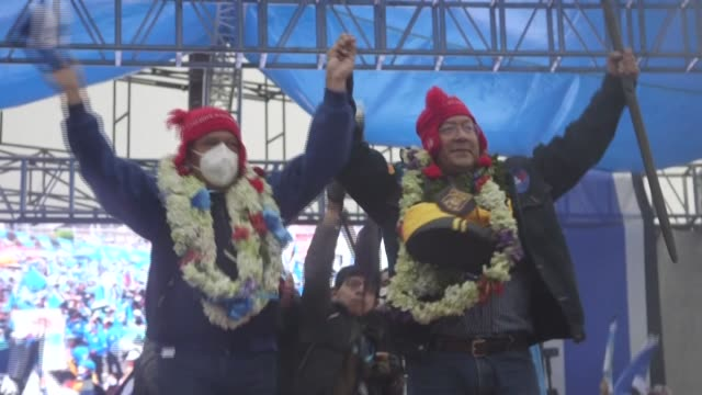 the political party of the former president of bolivia, evo morales closes campaigns with a large rally - evo morales stock videos & royalty-free footage