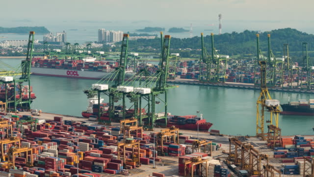 the port of singapore warehouse is working import export - sea channel stock videos & royalty-free footage