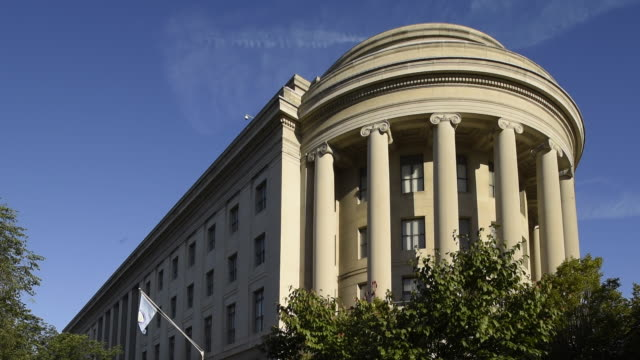 the portico of the federal trade commission building is supported by ionic columns. - federal building stock videos & royalty-free footage