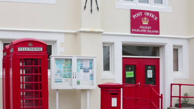 the post office in port stanley, the capital of the falkland islands. - post office stock videos and b-roll footage