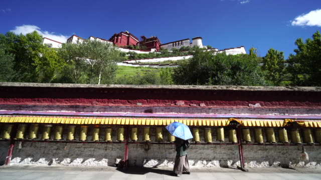 the potala palace in lhasa the largest and most complete ancient palace complex in tibet is now a museum and listed on unesco world heritage site - pellegrino video stock e b–roll