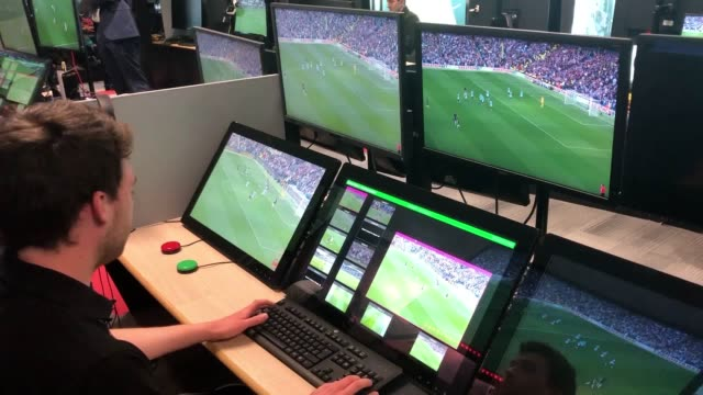 vídeos y material grabado en eventos de stock de the premier league is bracing itself for the introduction of video technology, aimed at tackling 'clear and obvious' errors of judgement on behalf of... - var