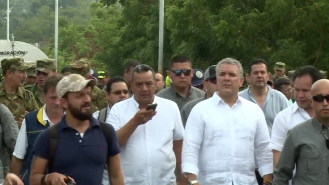 The president of Colombia Ivan Duque visits the place where people set on fire the trucks carrying humanitarian aid on the Colombia Venezuela border...