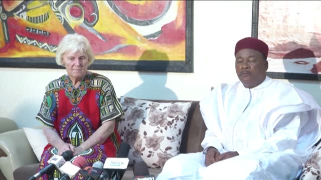 the president of niger issoufou mahamadou appeared at a news conference with josephine elliott - mahamadou issoufou stock videos and b-roll footage