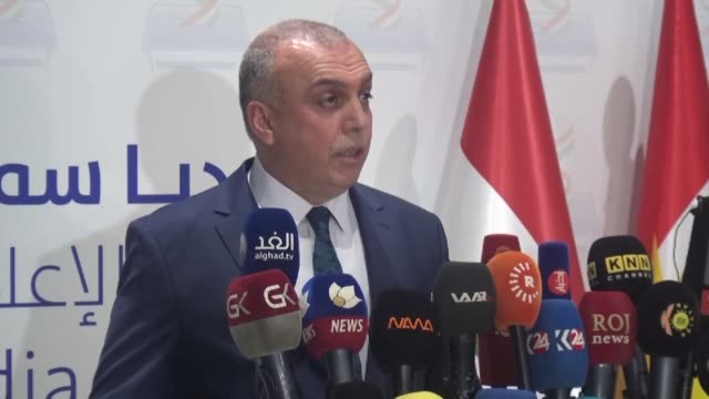 The president of the electoral commission Handerin Mohammed Saleh gives a press conference in Arbil announcing the results of the Iraqi Kurdistan...