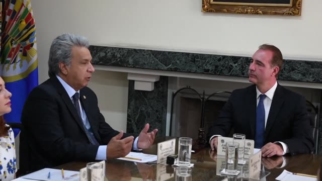 the president of the inter american court of human rights eduardo ferrer welcomes ecuador's president lenin moreno during a visit to the court's... - san jose costa rica stock videos & royalty-free footage
