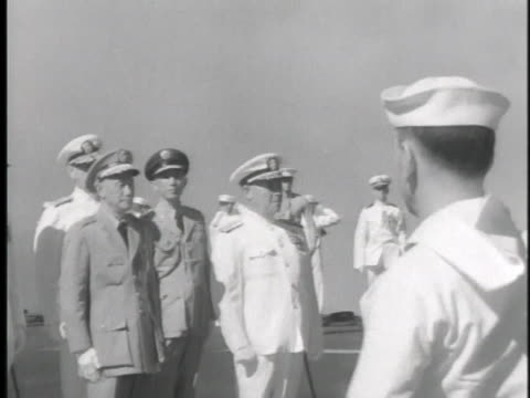 vídeos de stock e filmes b-roll de the president of the people's republic of china chiang kai shek visits the uss midway - uss midway