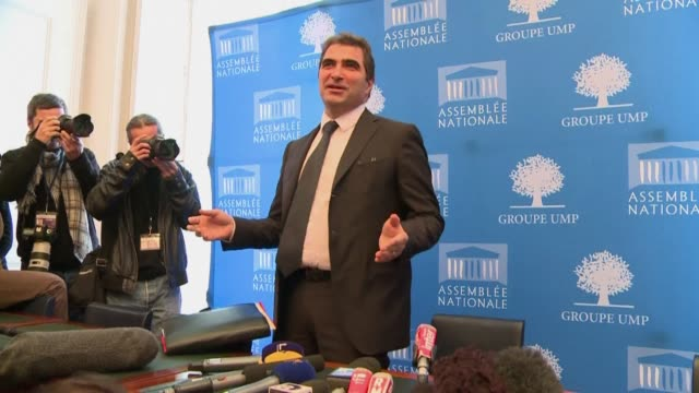 the president of the ump group in the french national assembly said tuesday he would do everything possible so that members of a breakaway faction... - french national assembly stock-videos und b-roll-filmmaterial