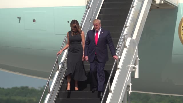 the president of the united states donald j trump and first lady melania trump land at wrightpatterson air force base ohio aug 7 2019 where the... - melania trump stock videos & royalty-free footage