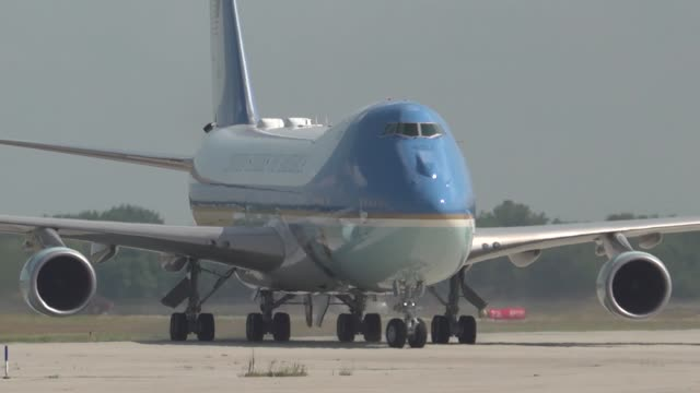 the president of the united states donald j trump and first lady melania trump land at wrightpatterson air force base ohio aug 7 2019 where the... - air force one stock videos & royalty-free footage