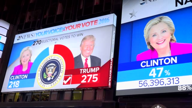 stockvideo's en b-roll-footage met the presidential general election results between donald trump and hillary clinton was televised via giant electronic billboard screens in times... - verkiezing