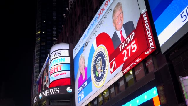 the presidential general election results between donald trump and hillary clinton was televised via giant electronic billboard screens in times... - electronic billboard stock videos & royalty-free footage