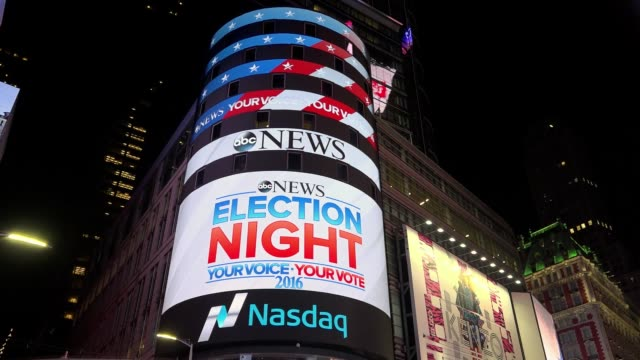 the presidential general election results between donald trump and hillary clinton were televised by fox news and abc news via giant electronic... - electronic billboard stock videos & royalty-free footage