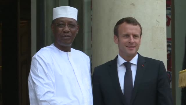 The presidents of Chad Niger Tunisia and Congo arrive at the Elysée Palace in Paris to take part in the Libya peace conference