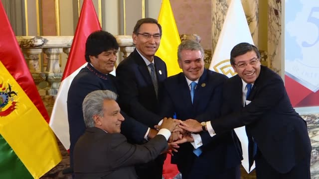 The presidents of Peru Colombia Bolivia and Ecuador gather for the Andean Community of Nations meeting with Bolivia taking on the protempore...