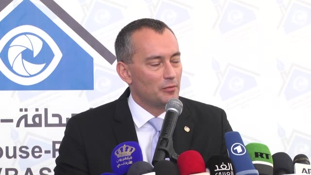 the press house palestine held a press conference for nikolay mladenov the un special coordinator for the middle east peace process the conference... - detainee stock videos and b-roll footage