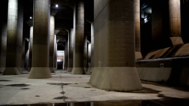 the pressure-adjusting water tank of the tokyo metropolitan area outer underground discharge channel is pictured on may 22, 2018 in kasukabe, japan.... - 50 seconds or greater stock-videos und b-roll-filmmaterial