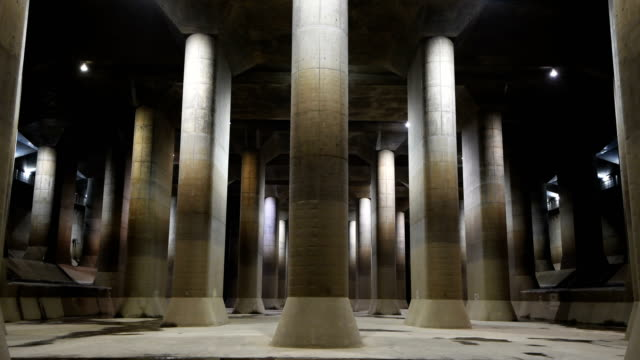 the pressureadjusting water tank of the tokyo metropolitan area outer underground discharge channel is pictured on may 22 2018 in kasukabe japan the... - 50 59 years点の映像素材/bロール