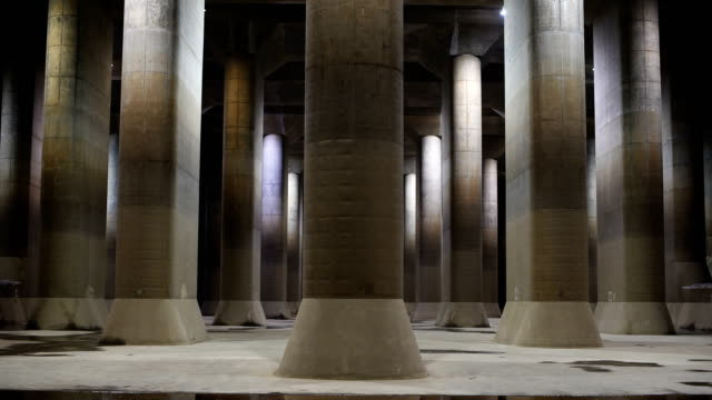 vídeos de stock, filmes e b-roll de the pressure-adjusting water tank of the tokyo metropolitan area outer underground discharge channel is pictured on may 22, 2018 in kasukabe, japan.... - 50 59 years