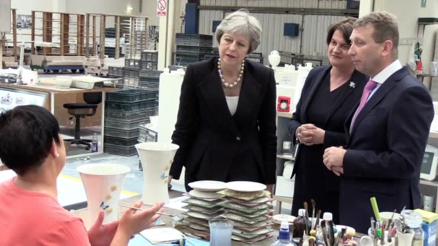 The Prime Minister has made her first visit to the Irish border since the Brexit referendum Theresa May toured the Belleek Pottery factory in Co...